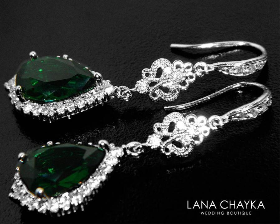 Emerald crystal chandelier earrings dark moss earrings green crystal emerald crystal chandelier earrings dark moss earrings green crystal silver bridal earrings green wedding teardrop earrings bridal jewelry 3690 usd aloadofball Images