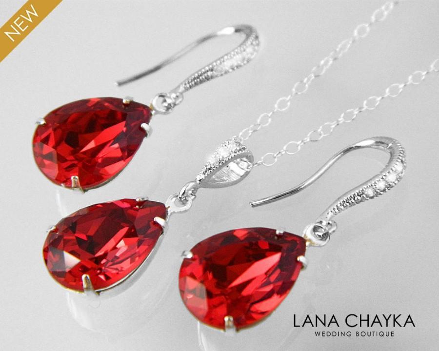 زفاف - Red Crystal Jewelry Set Swarovski Scarlet Red Earrings&Necklace Set Bright Red Silver Teardrop Jewelry Set Bridesmaid Bridal Red Jewelry Set - $25.00 USD