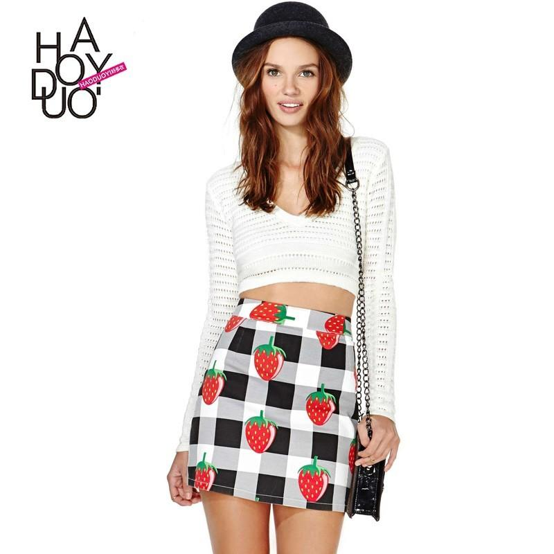 Свадьба - Cute style of Strawberry, white and grey Plaid print stretch slim back zip skirt - Bonny YZOZO Boutique Store