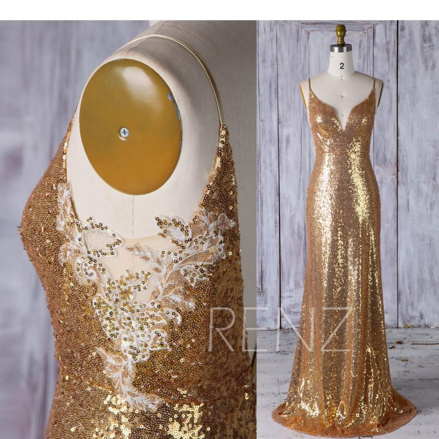 Wedding - Gold Sequin Bridesmaid Dress Mermaid,Sexy V Neck Wedding Dress with Lace,Spaghetti Straps Evening Gown,Bodycon Prom Dress Full Length(HQ430)