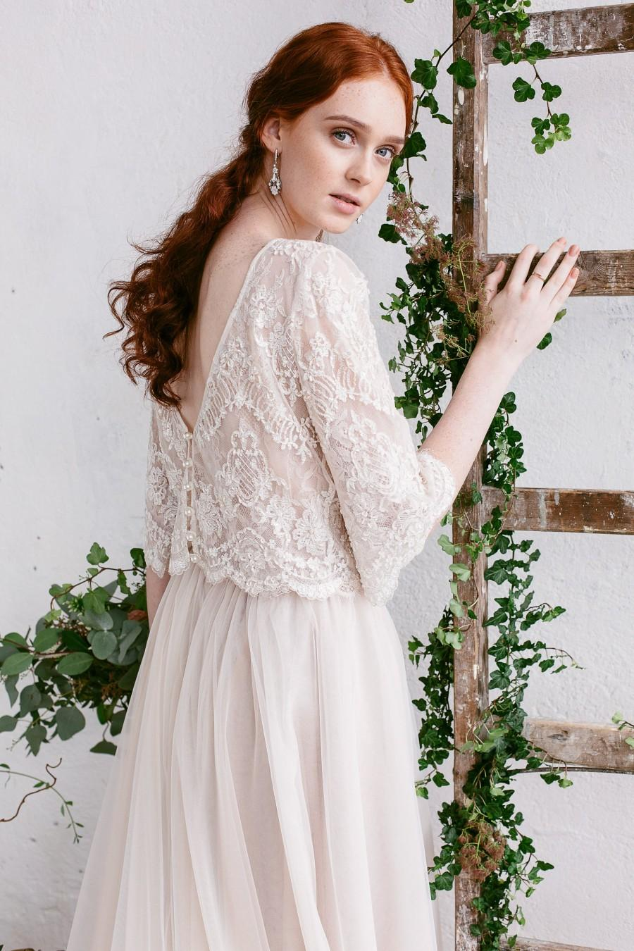 Wedding Top Bridal Separates Nude Lace Open Back V Beaded Bohemian Bride Floral Claire: Floral Lace Top Wedding Dress At Websimilar.org