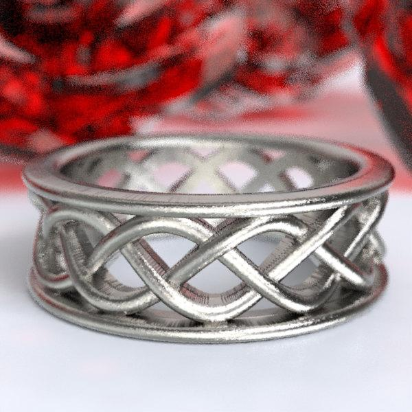 Свадьба - Celtic Wedding Ring With 3 Cord Braided Knotwork Encased in Rails Design in Sterling Silver, Made in Your Size CR-271