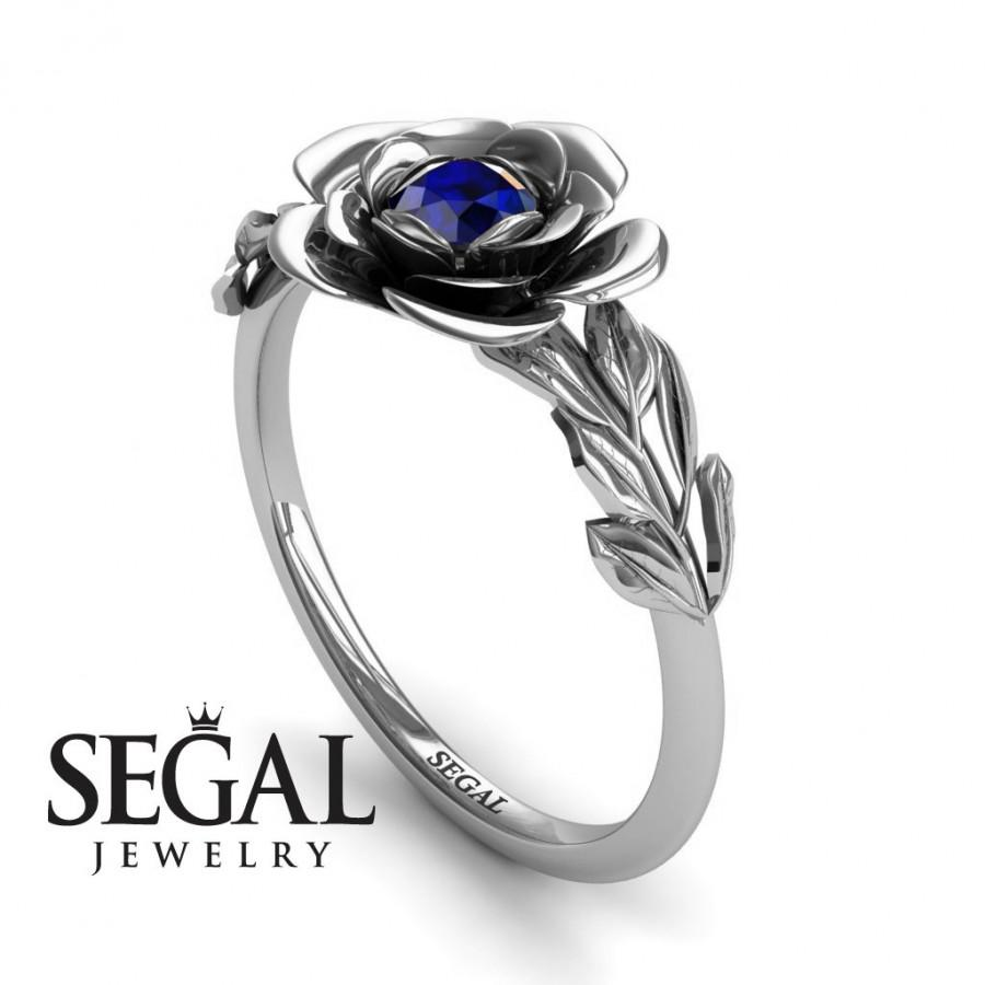 Свадьба - Blue Sapphire Ring White Gold Blue Sapphire Ring Solitaire Engagement Ring Unique Engagement Ring Rose Ring Blue Sapphire Ring - Adalyn