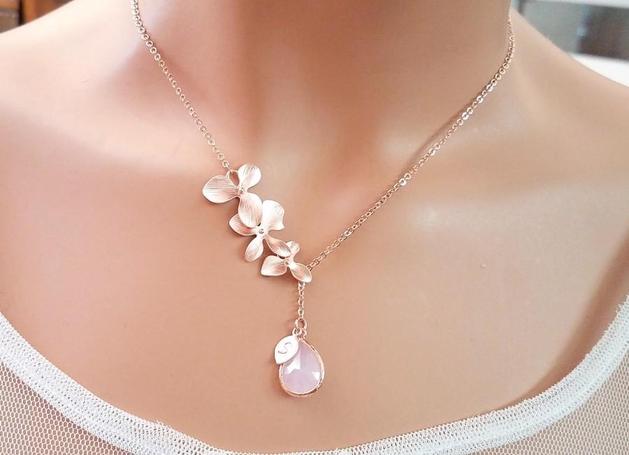زفاف - Blush Pink ROSE GOLD Necklace, Orchid Necklace, Flower, Personalized necklace, Clear, Champagne, Peach, Sapphire Navy, Bridesmaids Gift