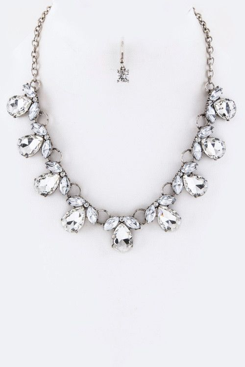 Mariage - (Necklace) Mix Crystals Statement Necklace