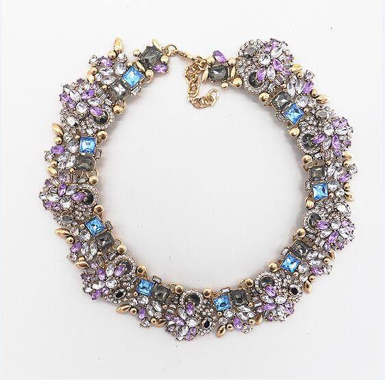 Wedding - PPG&PGG Jewelry Luxury Rhinestone Collar Purple Crystal Bib Choker Statement Necklaces Pendants