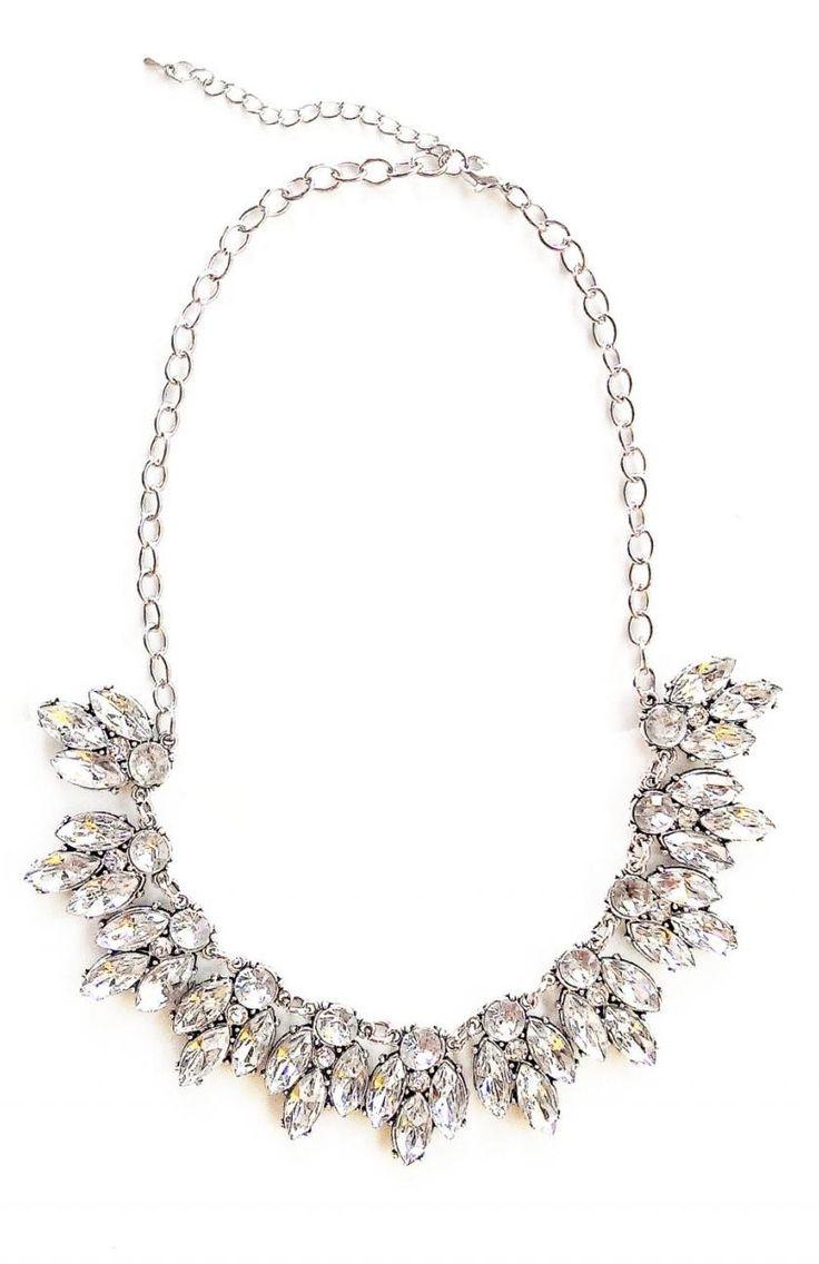 Свадьба - White Crystal Statement Necklace Fo