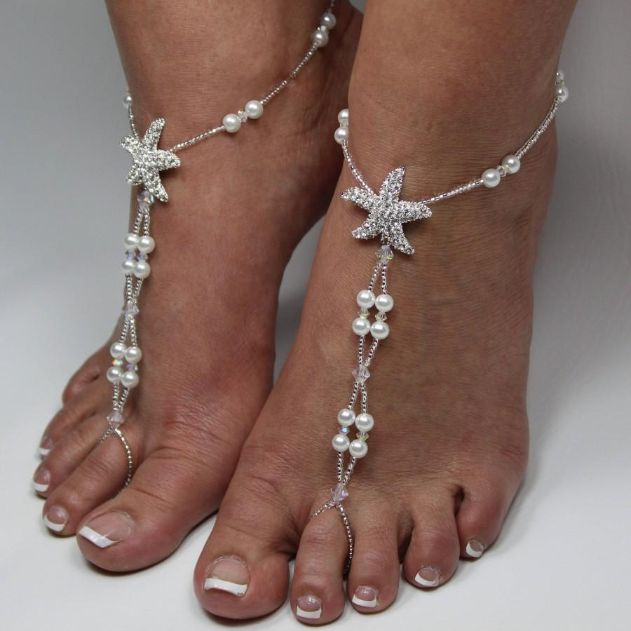 Starfish Pearl Foot Jewelry Crystal Silver Bridal Barefoot Sandal