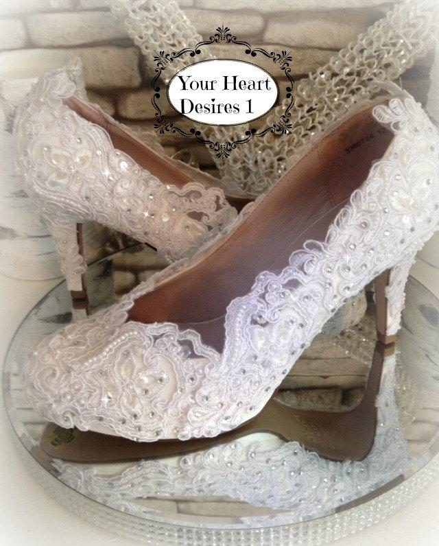 Hochzeit - White lace,pearls and crystals wedding shoes bride bridal prom