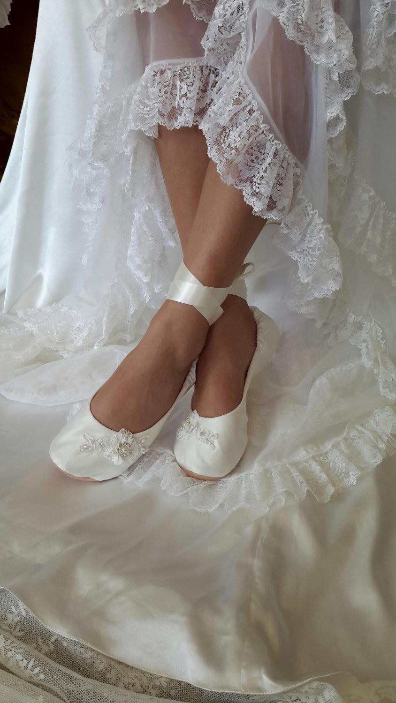 Ivory Satin Bridal Flat Shoe White Satin Flat Wedding Shoe Ivory