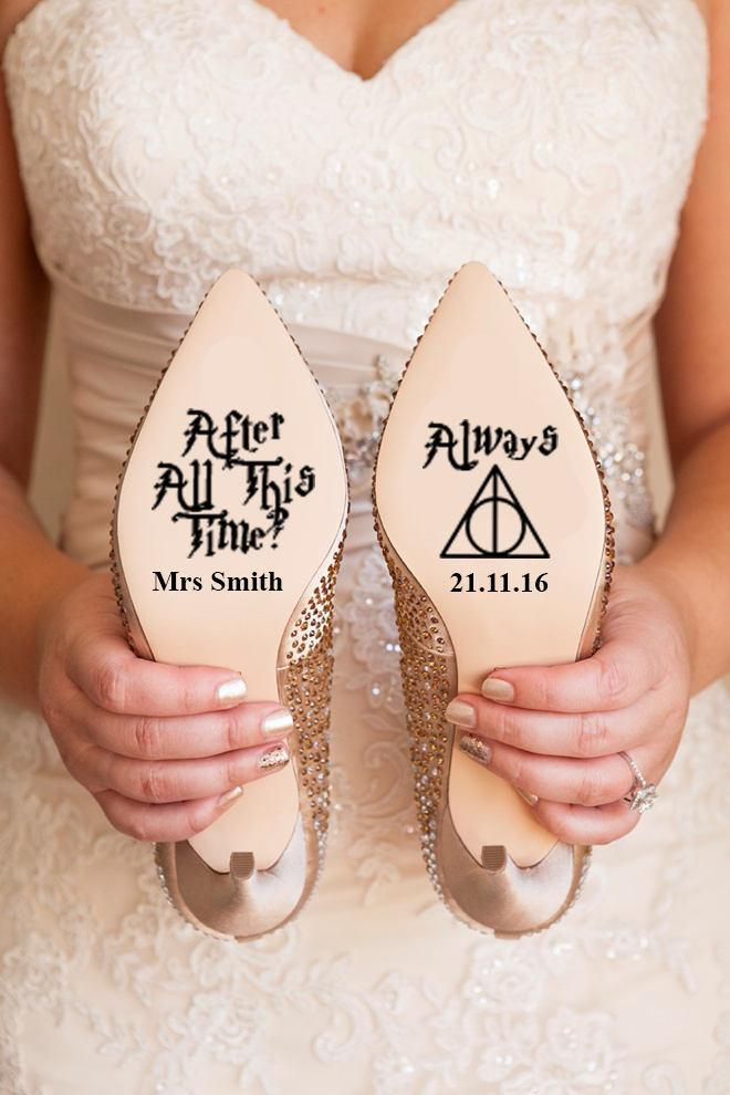 Personalised Harry Potter Disney Wedding Shoe Vinyl Sticker Decal With Name Date Decorations Bridal Bridesmaid I Do Deathly Hallows