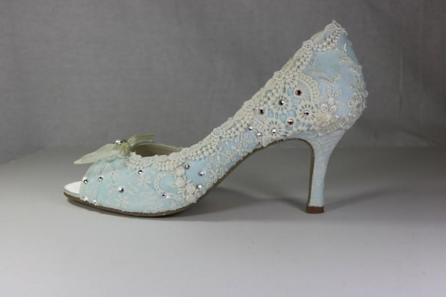 Low Heel Wedding Shoes Vintage Lace Bridal Something Blue P Toes