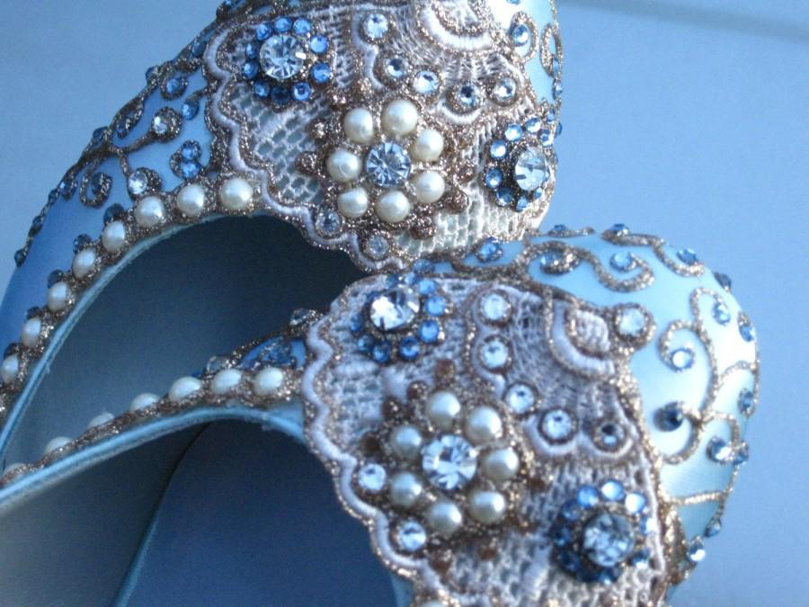 Mariage - Golden Vines Bridal Heels Wedding Shoes - Any Size - Pick your own shoe color and crystal color