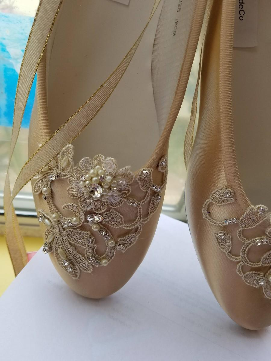 Mariage - Gold Champagne Ballerina style Shoes Satin Lace Appliqué Crystals Pearls, Lace Up Ribbon Ballet Style Slipper, Comfortable Wedding Shoes