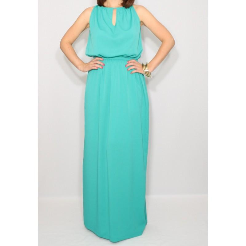 Свадьба - Turquoise Bridesmaid dress Long chiffon dress Prom dress Keyhole dress - Hand-made Beautiful Dresses
