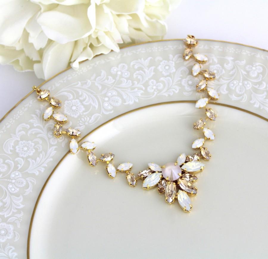 زفاف - Gold Bridal necklace, Crystal Wedding necklace, Bridal jewelry, White opal, Champagne crystal, Statement necklace, Swarovski necklace