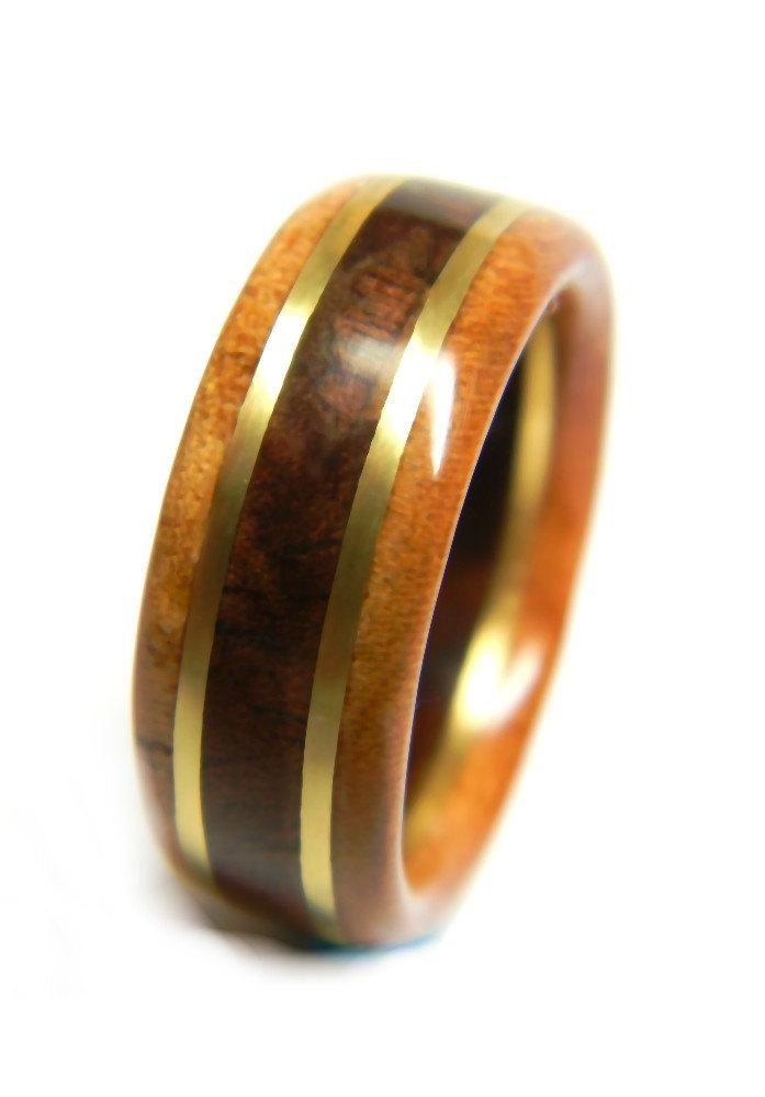 Mariage - Stylish Walnut and Cherry Wood Wedding Band, 5th Anniversary, Fifth Anniversary, Wood Anniversary, For Him, Men's Gift, Man's Ring,