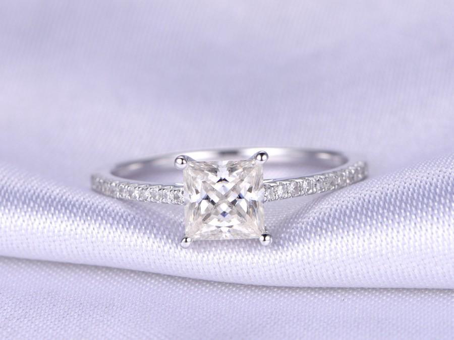 زفاف - 1ct Moissanite Engagement ring,5mm princess cut moissanite ring,14k White gold,diamond wedding band,Promise Ring,Bridal ring