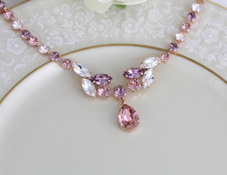 Mariage - Rose gold necklace, Bridal necklace, Bridal jewelry, Statement necklace, Blush crystal necklace, Wedding jewelry, Swarovski crystal necklace