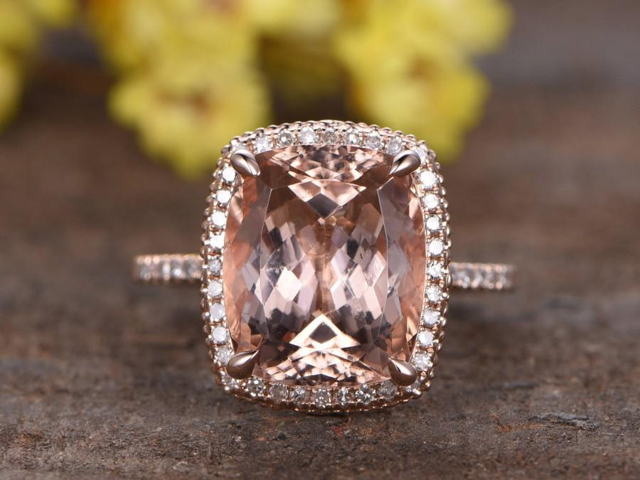 Mariage - 4.4ct natural pink morganite engagement ring,solid 14k rose gold diamond ring,Deco floral engraving,bridal promise ring,diamond HALO ring
