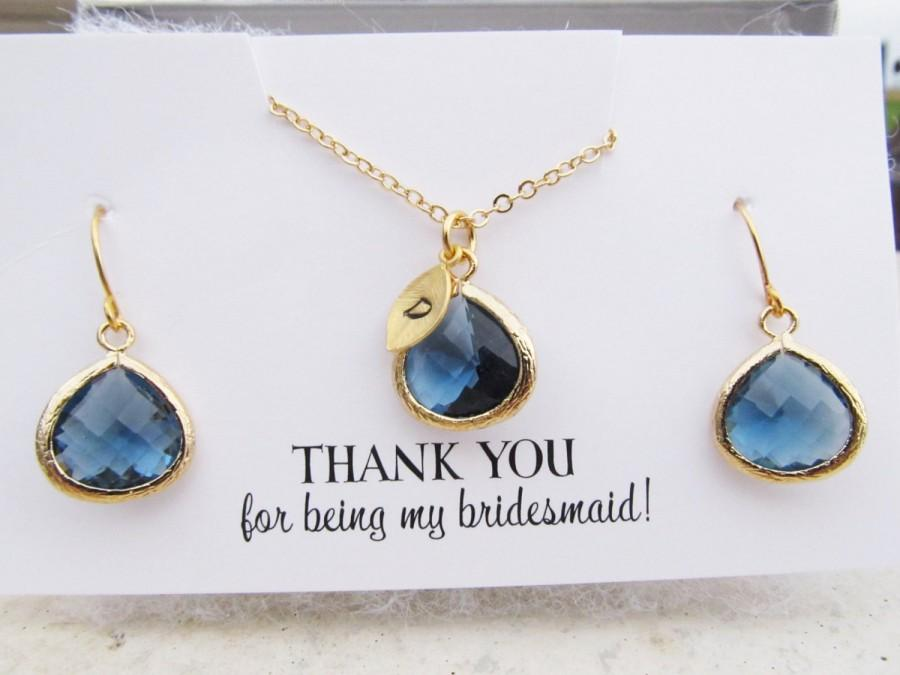 Mariage - Thank You For Being My Bridesmaid Gift, You Choose Color and Initial, Bridesmaid Jewelry Gold, Bridesmaid Jewelry Set, Bridesmaid Thank You