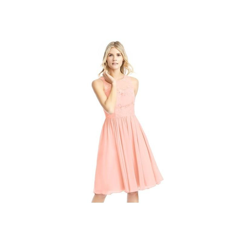 Hochzeit - Coral Azazie Victoria - Knee Length Chiffon And Lace Scoop Illusion Dress - Charming Bridesmaids Store