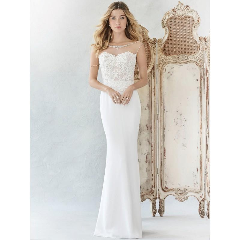 Hochzeit - Ella Rosa Spring/Summer 2017 BE373 Sweet Ivory Chapel Train Sheath Illusion Sleeveless Embroidery Satin Dress For Bride - The Unique Prom Store