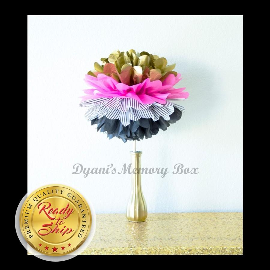 Mariage - Kate Spade Inspired Tissue Pom pom with Wooden Dowel / Pink Black Stripes Centerpiece / Paris Theme Party
