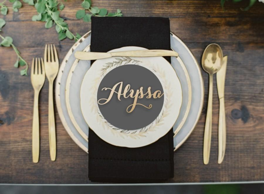 Mariage - Name Place Setting.Place Name.Wedding Place Setting.Gold Place Name.