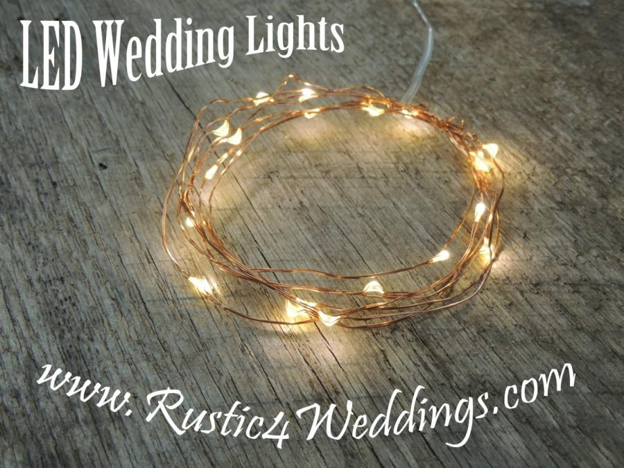 Mariage - LED Battery Operated Fairy Lights, Rustic Wedding Decor, Room Decor, 6.6 ft, Copper Strand LED String Lights