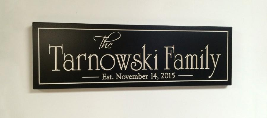 Wedding - Carved Engraved Family Name Sign Last Name Sign..8x24