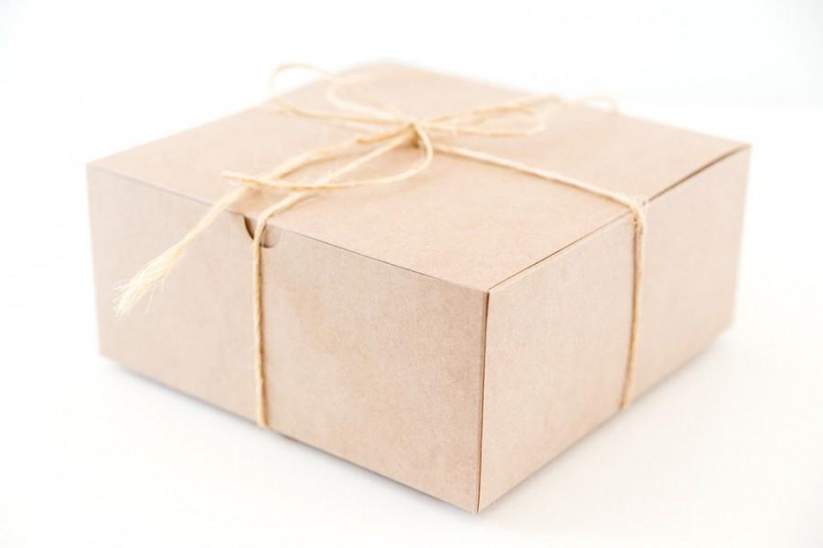 Mariage - 8 Large Square Kraft  Gift Boxes 8x8x3.5