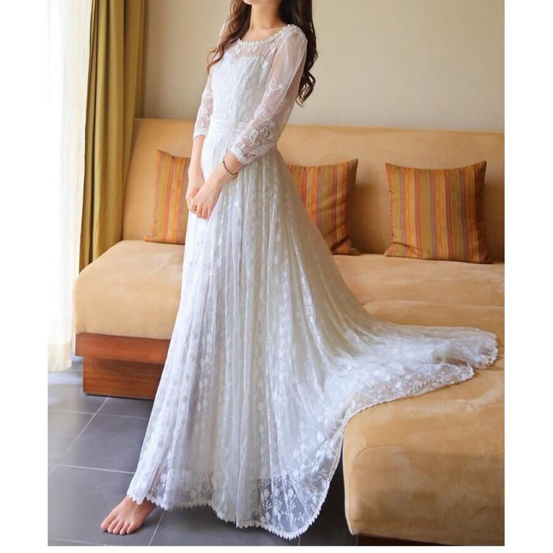 Vintage Style Semi Formal Wedding Dress Lace Dress - Hand-made ...