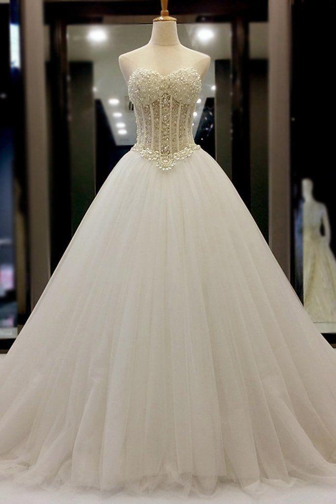 Hochzeit - White Organza Sweetheart Beading Pe