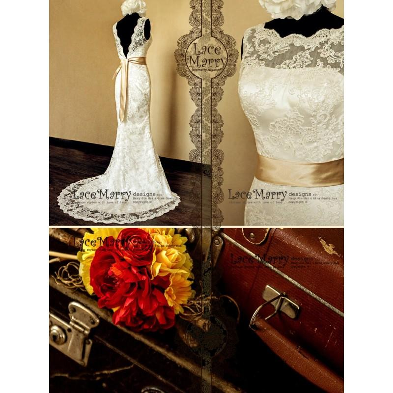 Wedding - Deep V-Cut Back Vintage Style Lace Wedding Dress Features Illusion Neckline and Satin Sash - Hand-made Beautiful Dresses