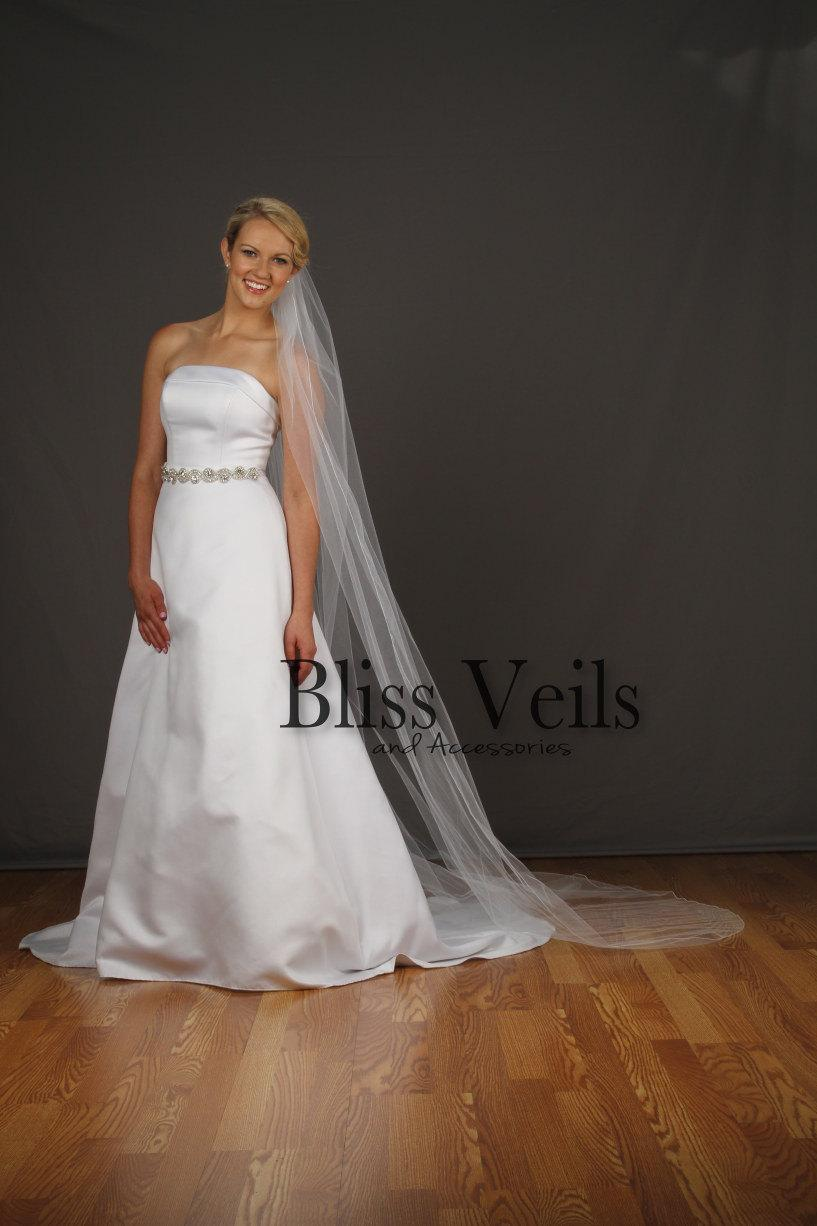 Mariage - Long Veil - One Layer Veil with Pencil Edge  - Available in 10 Sizes & 10 Colors - Fast Shipping!