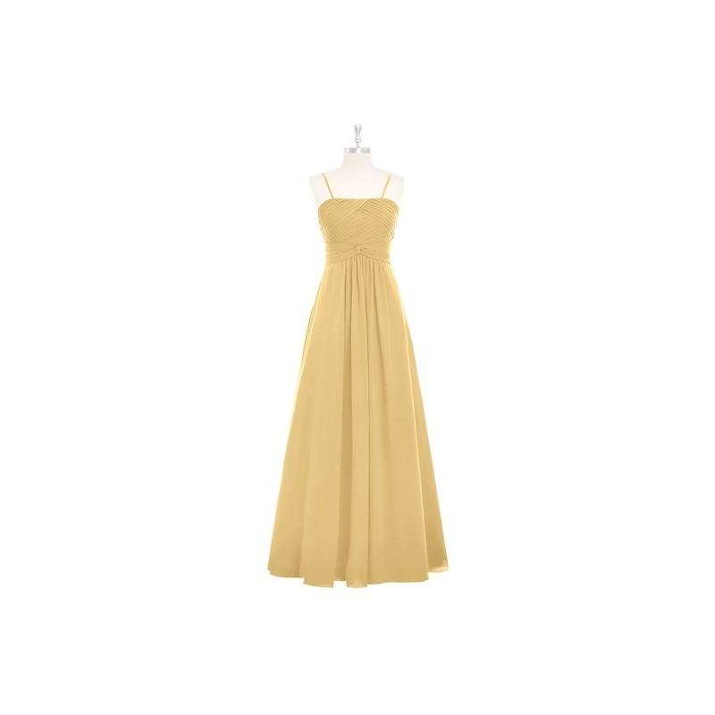 Mariage - Gold Azazie Imogene - Back Zip Floor Length Chiffon Straight Dress - Charming Bridesmaids Store