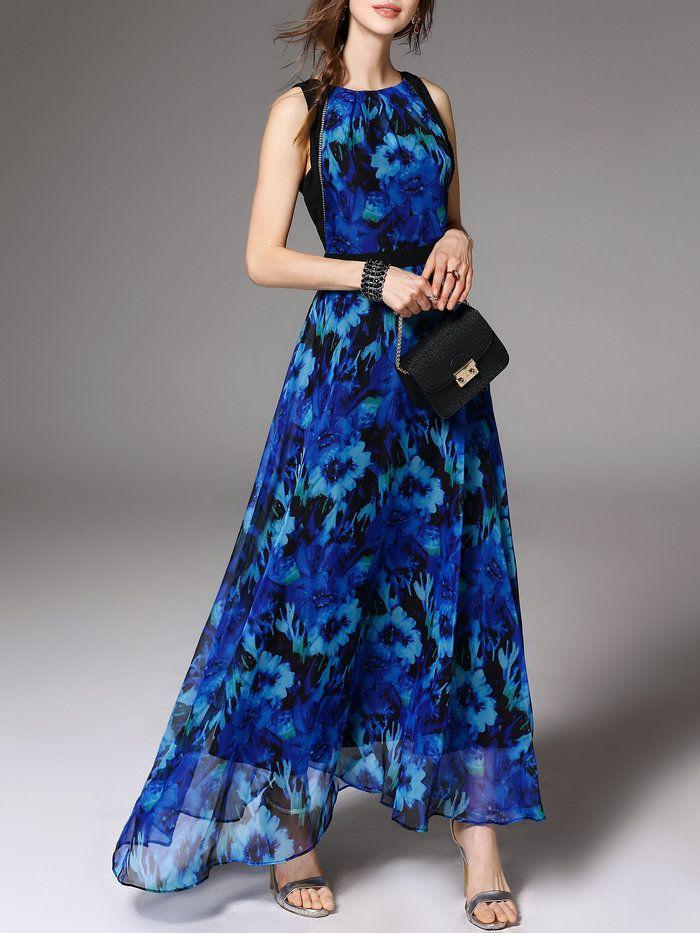 Mariage - Navy Blue Boho Polyester Floral-print Maxi Dress