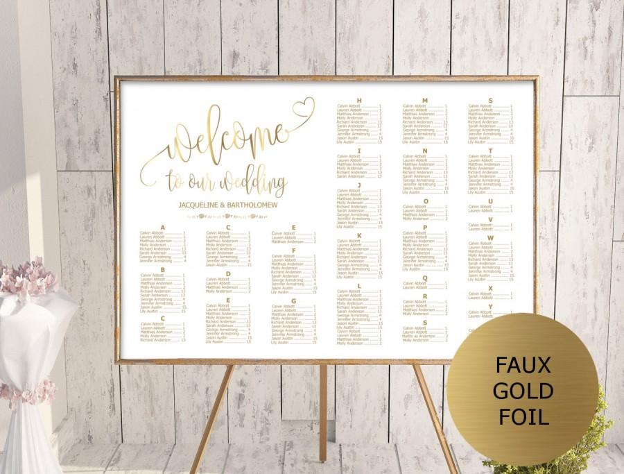 Wedding - Gold Wedding Seating Chart Template, Alphabetical Seating Chart Printable, Seating Board, Editable Seating Chart, Seating Poster