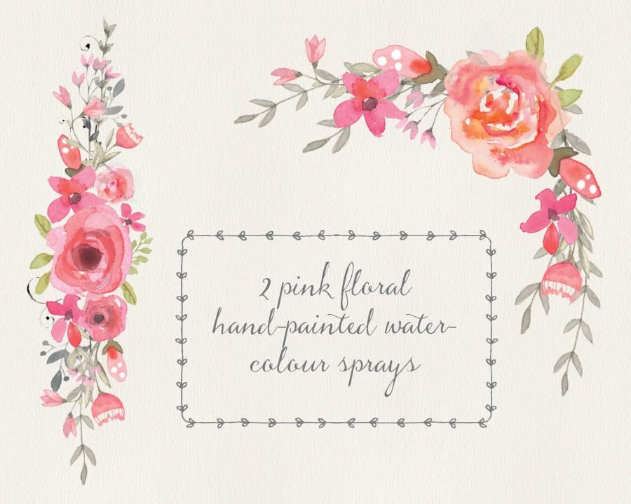 Wedding - Watercolour floral clip art - two pink floral sprays; wedding clipart; corner spray; straight spray - digital download