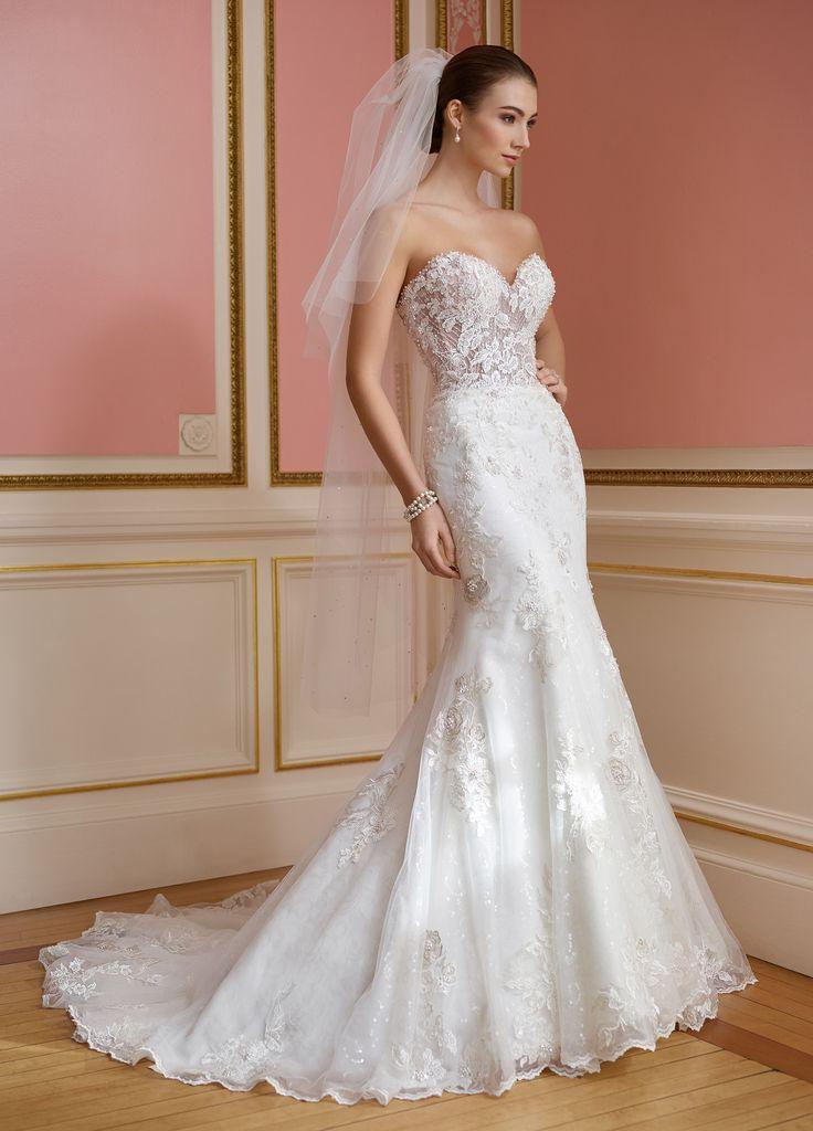 زفاف - Strapless Sheer Lace Bodice Fit & Flare Wedding Dress- 217209 Vada