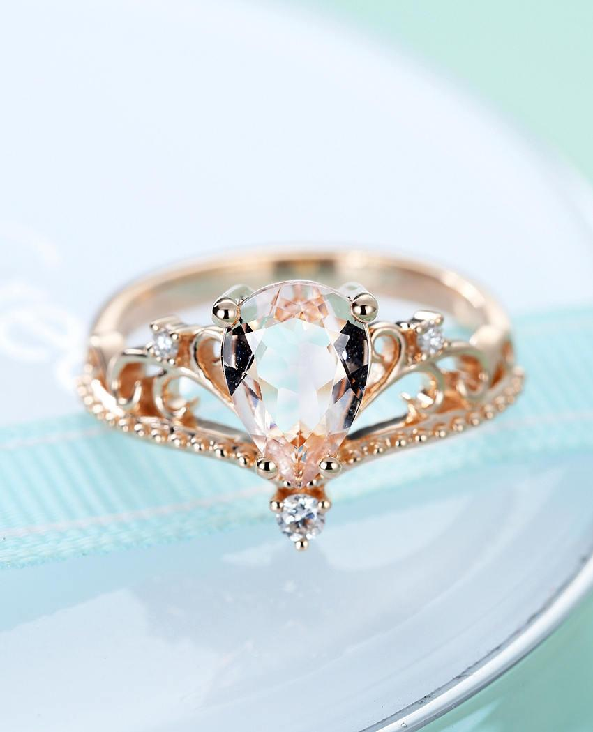 21777f2c7d Rose gold engagement ring Vintage Morganite engagement ring Pear shaped Art  deco Antique Crown diamond wedding women bridal set anniversary