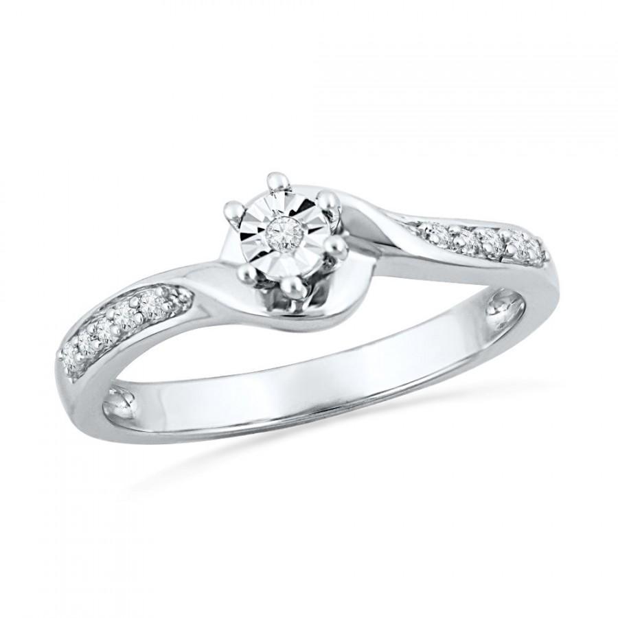 زفاف - Sterling Silver Diamond Promise Ring, Sterling Silver or White Gold Ring, Jewelry Gift For Women