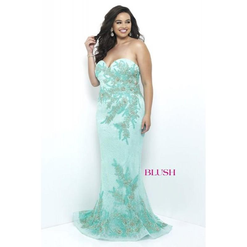 Wedding - Blush Prom Plus Size 11241W Prom Dress - Prom Plus Size Fitted, Mermaid Strapless, Sweetheart Blush Long Dress - 2017 New Wedding Dresses