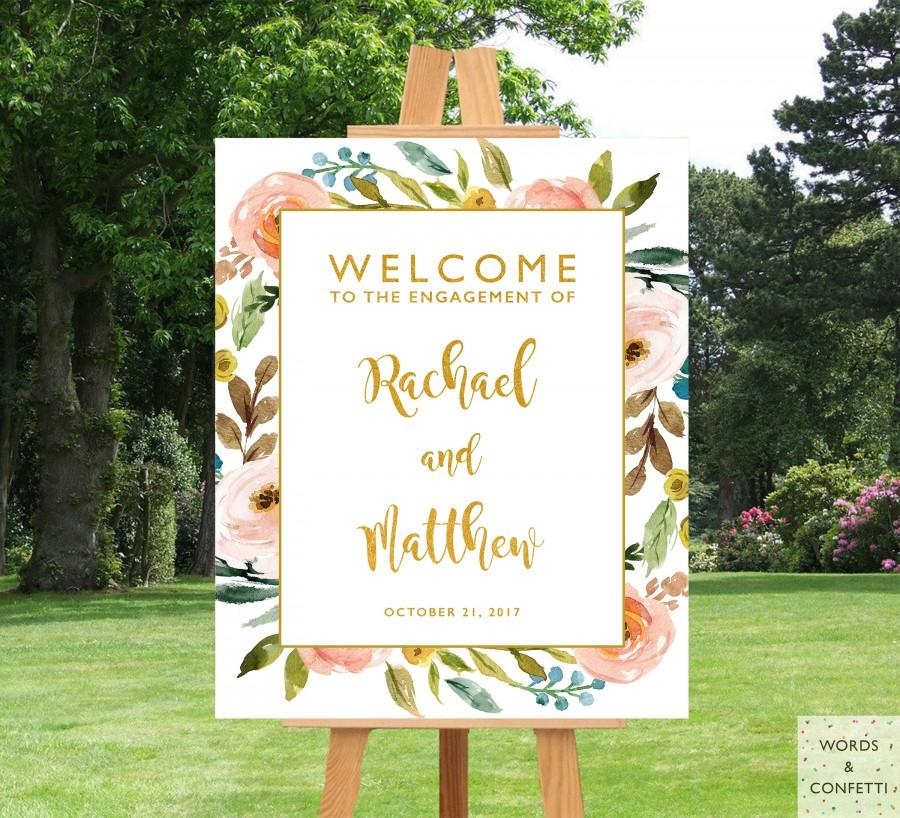 Engagement Party Decorations Rustic Decor Sign Printable Ideas Banner Floral Gold Welcome