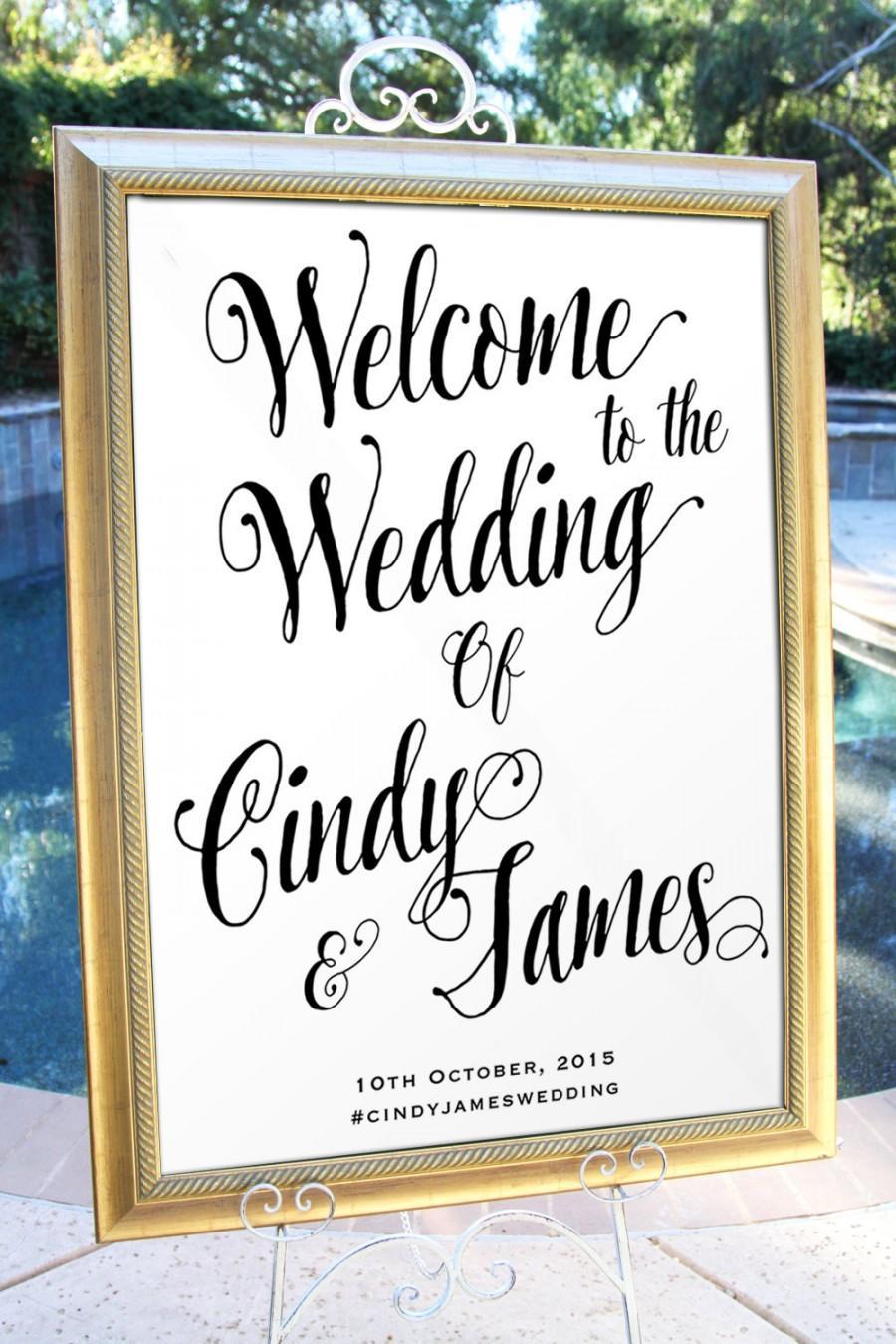 Wedding - Printable Simple Script Welcome Wedding Sign Customized Wedding poster wedding decor print art DIY wedding welcome Wedding decoration WS001