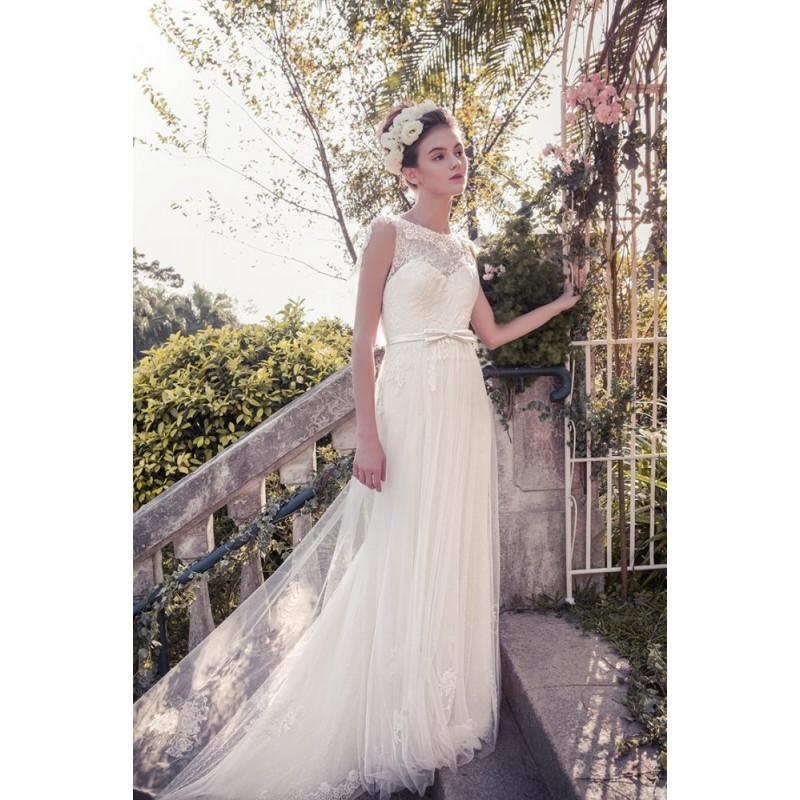 Wedding - Snow by Annasul Y. 2017 sa3333b Open Back Chapel Train Bateau Ivory Sleeveless Column Lace Appliques Wedding Gown - Crazy Sale Bridal Dresses