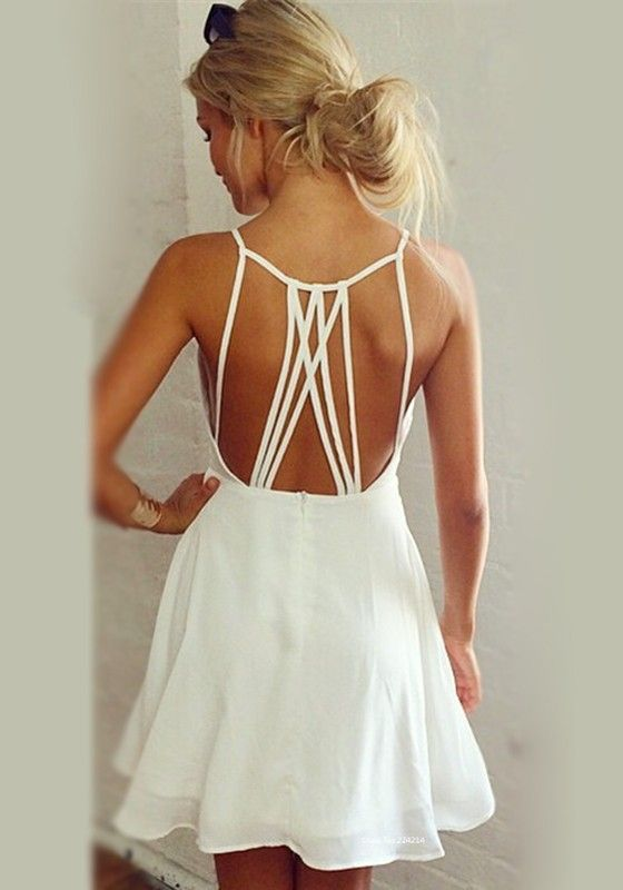 Mariage - White Plain Tie Back Condole Belt Hollow Out Spaghetti Strap Ruffles Square Neck Chiffon Dress