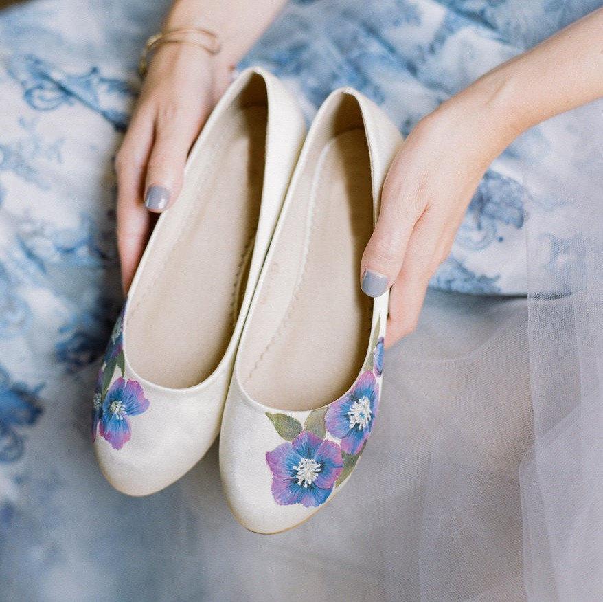 2e9064fc8 Purple Anenome Handpainted Custom Flat Wedding Shoes 2777725 Weddbook