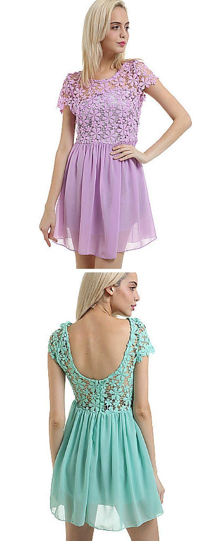 Wedding - Women's White/Green/Pink Summer Lace Chiffon Sexy Backless Mini Dress